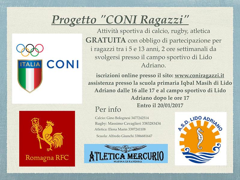 """Progetto """"CONI Ragazzi"""": al via un percorso multisport di calcio, rugby e atletica"""