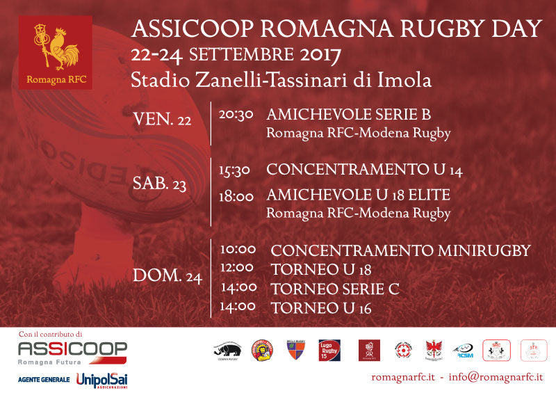 """""""Assicoop Romagna Rugby Day"""", dal 22 al 24 settembre a Imola"""