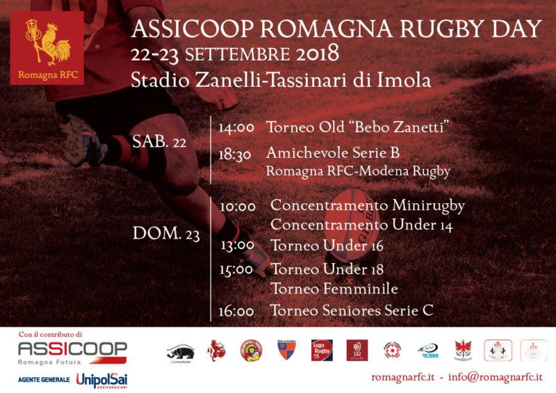 Assicoop Romagna Rugby Day: il 22 e 23 settembre a Imola la festa del rugby romagnolo
