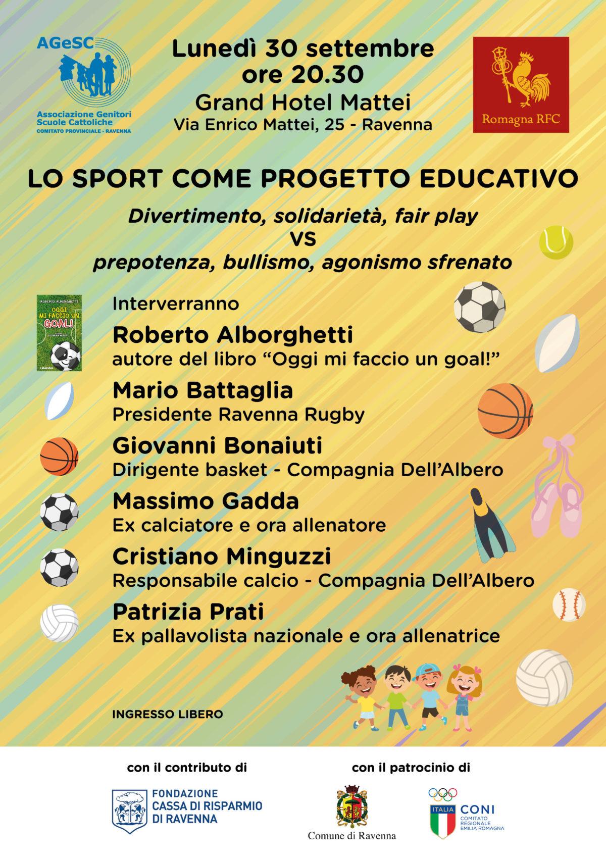 Lo sport come progetto educativo, il 30 settembre incontro a Ravenna